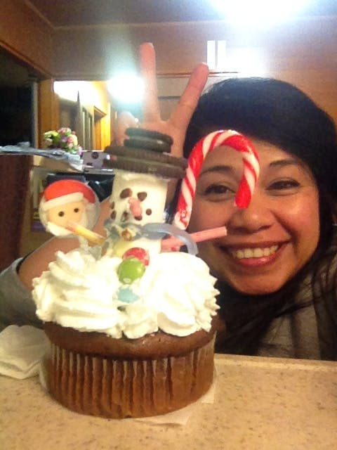 School Xmas party Snowman cupcake making
